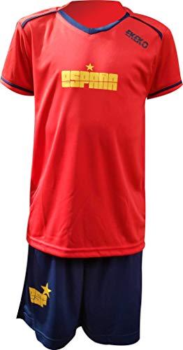 Pack Equipacion Completa, Pantalon y Camiseta, EKEKO Modelo Team, Equipacion de Futbol Infantil. ESPAÑA, Italia. (16, ESPAÑA)