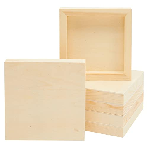 6 Pack Unfinished Wood Canvas Boards for Painting, Arts and Crafts (6x6 in)