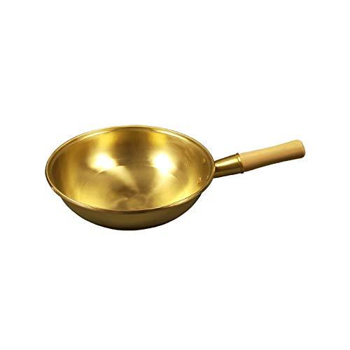 SMEJS De cobre puro Pot, Sartén, Sartén, latón Sartén, Cocina Utensilios (Size : 36cm)