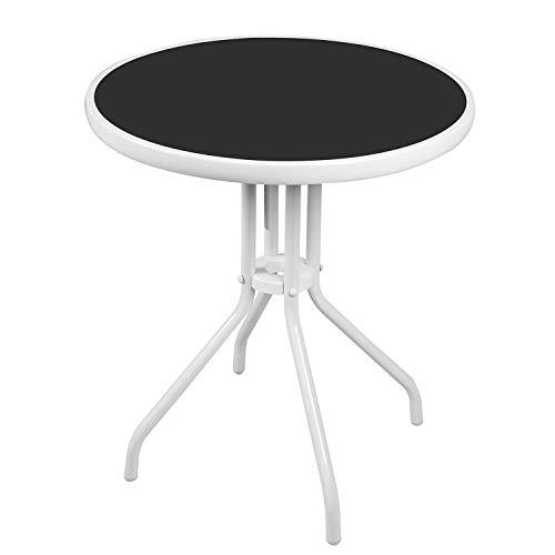 Mojawo® Bistrotisch Glas/Metall Rund Ø60xH70cm Weiß Balkontisch Gartentisch Glastisch