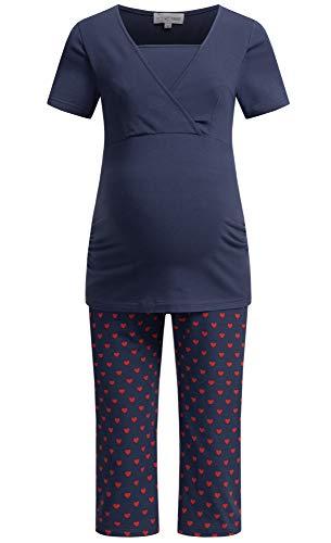 Herzmutter Stillpyjama-Umstandspyjama - Kurz-Kurzarm - Schlafanzug mit Anker-Punkte-Muster - Krankenhaus-Wochenbett Pyjama-Set - Schwangerschaft-Stillzeit-Stillfunktion - 2900 (XL, Blau/Herzchen)