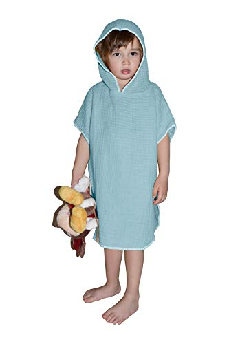 Muslin Unisex Kids Hooded Towel Pancho , Turkish 100 % Cotton , Soft, Absorbent, Natural, Garment Wash (Ice Blue, 2-4 Age)