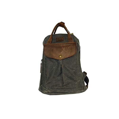 Old cotton bags gds bongoyo Unisex canvas leather waterproof backpack with pocket gray