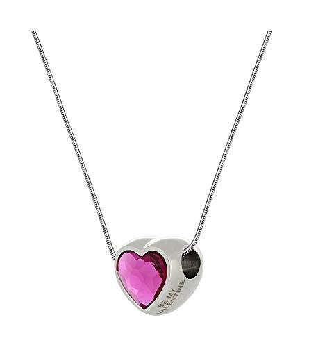* Beforia Paris* – Bellissima collana con cuore Swarovski® Elements – Colore fucsia con catena in argento 925 – Collana con custodia