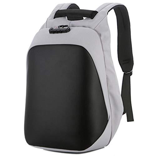 Shengyang, Mochila, Bolsa de portátil, Impermeable, Carga USB, Bolsa de Estudiante, Alta Capacidad, cáscara Dura, antirrobo, Moda, Unisex, Negro, Gris