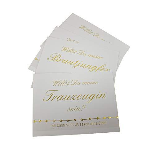 Willst Du meine Brautjungfer & Trauzeugin sein? 5 x Postkarte Karte Hochzeit Geschenk für Bridesmaid & Maid of Honor Frage stellen rosa gold metallic Vintage