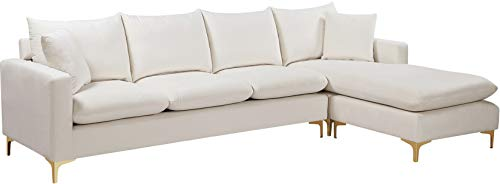 Meridian Furniture 636Cream-Sectional Naomi Collection Modern | Contemporary Velvet Upholstered REVERSIBLE Sectional with Rich Gold or Chrome Legs, 110' W x 66' D x 30' H, Cream