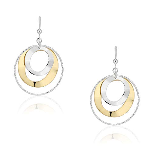 SolidSilver - Sterling Silver Triple Round Diamond Cut Hammered Two Toned Dangle Large Hoop Earrings