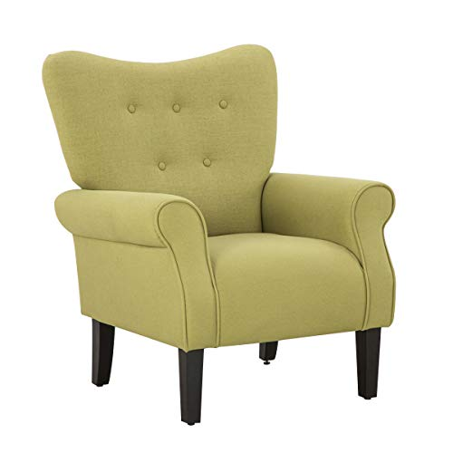 Mellcom Mid Century Wingback Arm Chair,Modern Upholstered Fabric High Back Accent Chair with Wood Legs,Upholstered Single Sofa Club Chair for Living Room, Bedroom, Home Office, Green