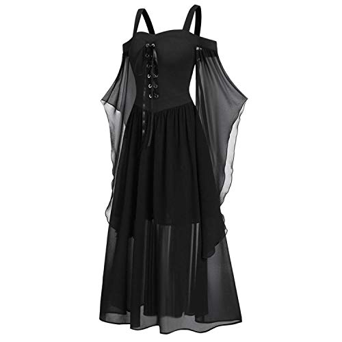 Vintage Plus Cold Shoulder Butterflies Sleeve Lace Up Gothic Style Halloween Dress Halloween Costumes for Women Girls (5XL, Black)