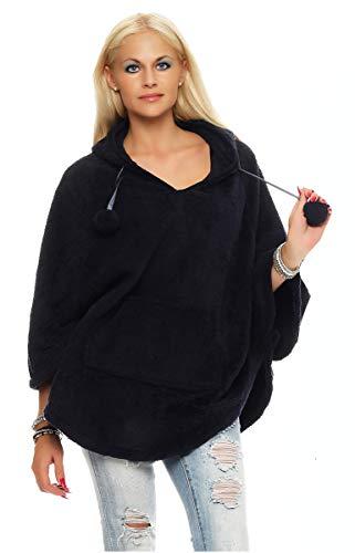 Mississhop 79 Damen Poncho mit Bommeln Kapuze Plüsch Strick Sweatshirt Pullover Umhang Überwurf Einheitsgröße Schwarz S