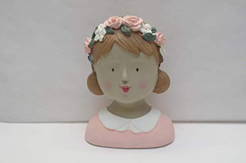 baden import Aufsteller Deko Kopf Frauenkopf Ladykopf rosa mit Blütenkranz