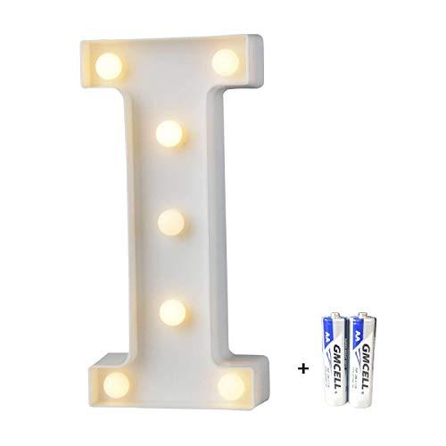 bemece LED Buchstabe Lichter Alphabet, LED Brief Licht, Led dekoration für Geburtstag Party Hochzeit & Urlaub Haus Bar - Buchstabe I