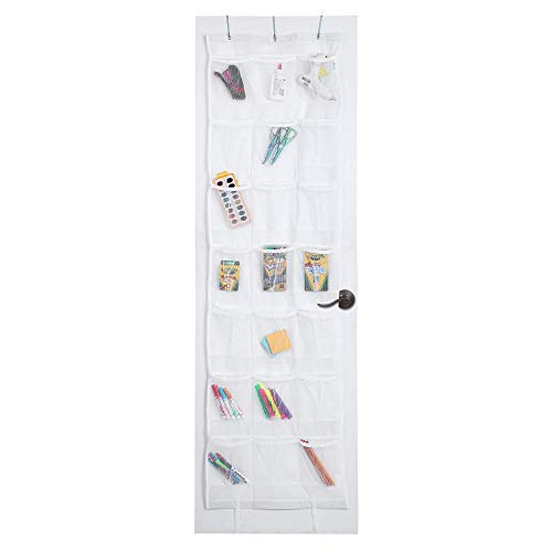 Smart Design Over-The-Door Organizer w/ 42 Pockets w/Elastic Trim & Hanging Hooks - VentilAir Mesh Fabric - Shoes, Pantry, Closet Storage - Home Organization (21 x 73 Inch) [White]
