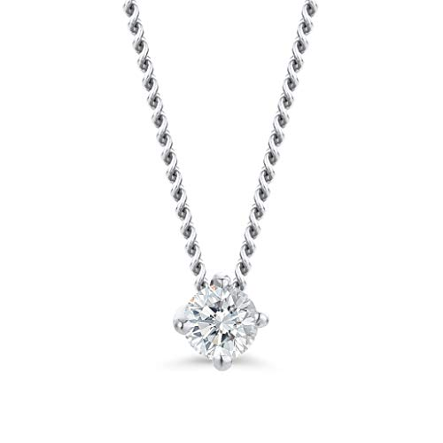 Orovi Collar para mujer de oro blanco, collar con colgante de diamante solitario de 14 quilates (585) y diamantes brillantes de 0,07 quilates, 45 cm de largo, hecho a mano en Italia