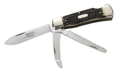 Hartkopf-Jagdtaschenmesser, Hirschhorn, Klinge 1.4110 Stahl, Säge und Aufbrechklinge 1.4034 Stahl, Neusilberbacken