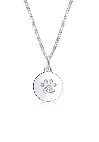 Elli Halskette Damen Pfoten Plättchen Hund Katze mit Kristalle in 925 Sterling Silber