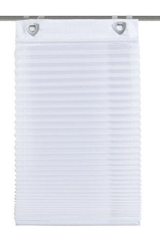 Home fashion 91041-601 plisseerolgordijn, met haken en ogen, effen, voile, wit / 140 x 45 cm