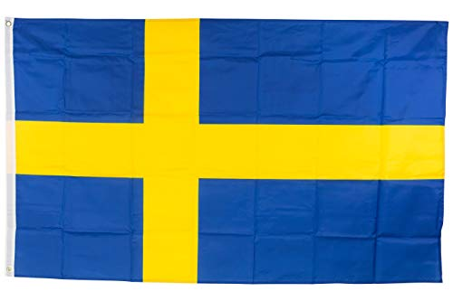 SCAMODA Bundes- und Länderflagge aus wetterfestem Material mit Metallösen (Schweden) 150x90cm