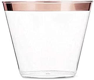 CT GOODZ 100 Rose Gold Plastic Cups 9 Oz Clear Plastic Cups Old Fashioned Tumblers Rose Gold Rimmed Cups Fancy Disposable Wedding Cups Elegant Party Cups with Rose Gold Rim