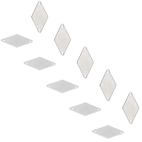 UNICRAFTALE about 40pcs Rhombus Links Stainless Steel Links 24mm Long Blank ID Tags Charm Connectors 1mm Hole Metal Charm Linking Pendant for Jewelry Making Stainless Steel Color