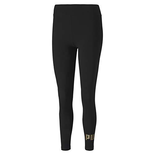 PUMA Damen ESS Logo Leggings Black-Gold, M