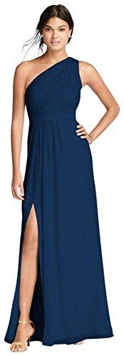 David's Bridal Long One-Shoulder Crinkle Chiffon Bridesmaid Dress Style F18055, Marine, 14