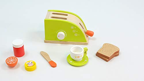 Toaster Set mit Toaster, Butter, Marmelade, Orange, 2X Toast, Tasse, Untertasse + Messer / Material: Holz / 3+