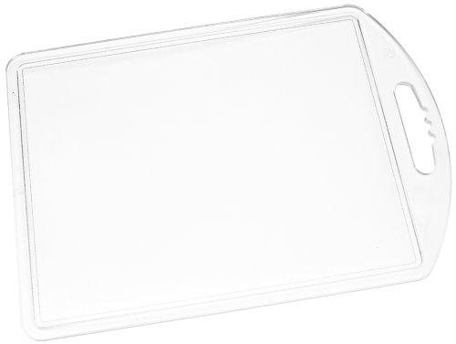 Fackelmann Tranchierbrett, Küchenbrett aus Kunststoff, Frühstücksbrettchen mit Saftrille (Farbe: Transparent), Menge: 1 Stück