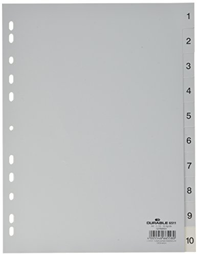 Durable 6511 10 Zahlenregister - PP, 1-10, A4, 10 Blatt, grau