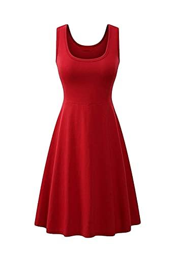Sweetop Vestidos de playa para mujer para las mujeres vestidos bonitos para las mujeres vestido casual de verano de mujer color liso vestido Swing A Line Midi Tank rojo XXXL