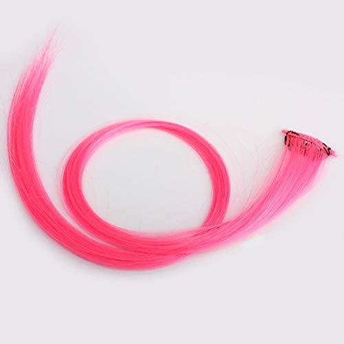 Nlgzklsh Vrouwen Lange Rechte Pruik Hair Extensions Clip Op Kleurrijke Haarstukje Punk Roze Haaraccessoires