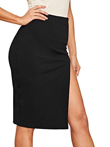 WDIRARA Women's Solid Elastic Waist Side Split Sexy Basic Midi Skirt Black M