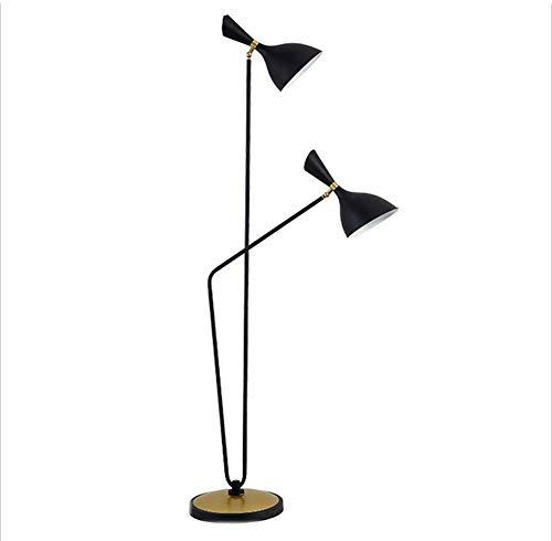 DXXWANG Floor Lamp Reading Decorative Lights,Danish Design Modern Minimalist Industrial Living Room Standing Lamp Attic Iron Double Bulb,A