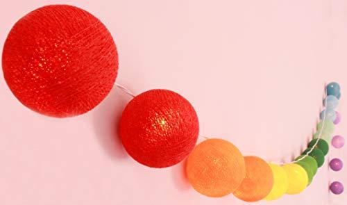 CREATIVECOTTON LED Lichterkette mit Cotton Balls inkl. Timer und Dimmer (Regenbogen, 20 Kugeln)