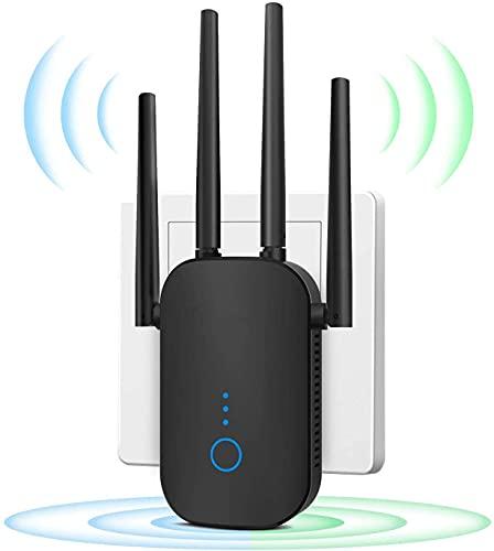 Amplificateur WiFi 1200Mbps Répéteur WiFi, Double WLAN AC + N 867 Mbits / s 5,8 GHz + 300 Mbits / s Répéteur WiFi 2,4 GHz Répéteur WLAN avec Port LAN Répéteur WiFi Mode Routeur AP
