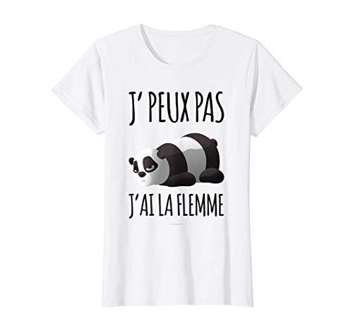 J'ai La Flemme Tee Shirt Panda Manche Courte Humour T-Shirt