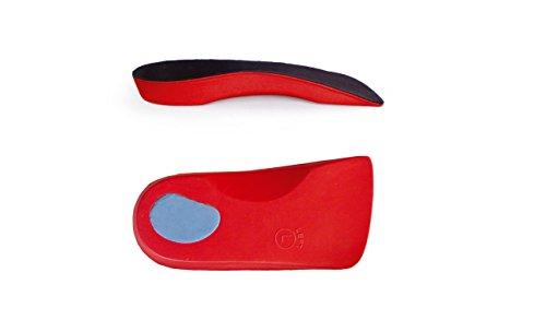 Sole Control línea roja - 3/4 plantillas ortopédicas con un apoyo estable de arco y la copa del talón, fascitis plantar, pie plano, pie plano, la pronación