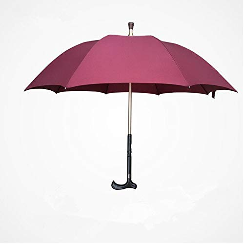 NJSDDB paraplu Mannen Lange Handvat 8K sterke winddichte Multifunctionele Wandelen Stick Paraplu Oudere gift paraplu Outdoor bergbeklimmen Umbre, Rood
