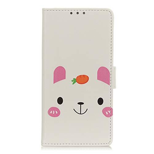 LMFULM® Hülle für LG V60 ThinQ 5G (6,8 Zoll) PU Leder Magnet Brieftasche Lederhülle Kaninchen Liebes Karotte Muster Stent-Funktion Ledertasche Flip Cover