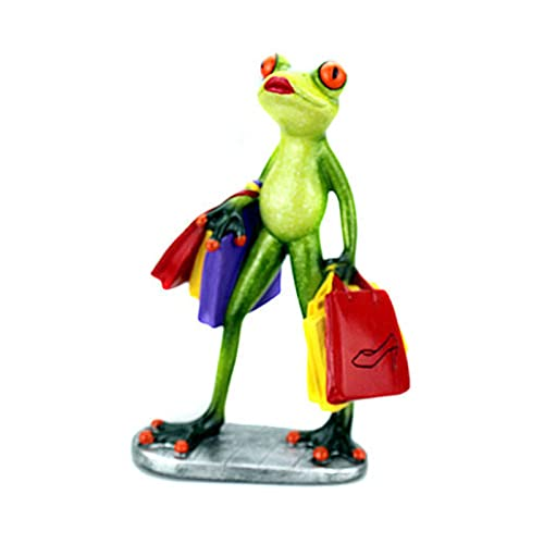 Aoten 3D Creative Decorations Shopping Green Frogs Sculpture Funny & Interesting Statues for Desktop Decor
