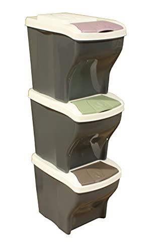 Cubos de basura, cubos para cocina, tres cubos plástico de basura para reciclar en tu hogar, oficina, apartamento y piso..