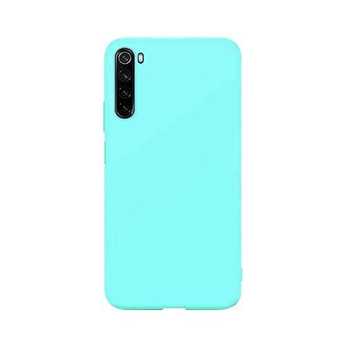 cuzz Funda para Xiaomi Redmi Note 8+{Protector de Pantalla de Vidrio Templado} Carcasa Silicona Suave Gel Rasguño y Resistente Teléfono Móvil Cover-Azul Claro