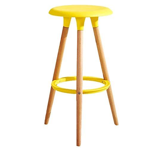 Moderne barkruk in slanke stijl, barkruk met tegenhoogte en poten van massief Nordic Modern High Stool verschillende kleuren om uit te kiezen geel