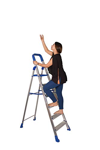 Parasnath Aluminium Heavy Folding Ladder Home Pro with Wide 6 Steps (Blue)