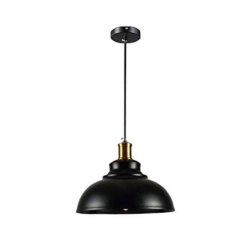 Wings of wind - Lampe en métal E27 Retro Plafonnier Vintage Pendentif Lampe Lampe Ombre (Noir)