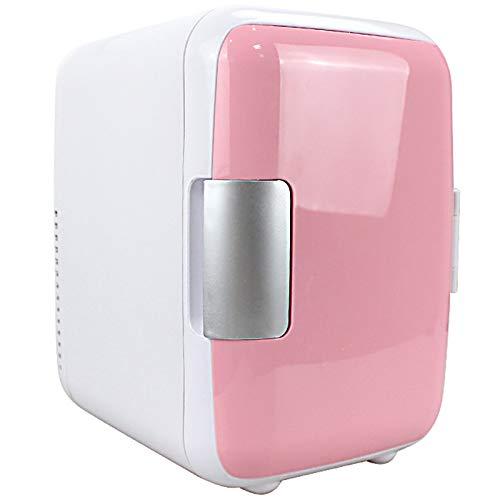 Refrigerador de automóviles, 2 en 1 Dual Uso 4L Mini 12V Bebidas Refrigerador Caja de refrigerador Congelador Levante al Aire Libre Viajes de Picnic,Rosado