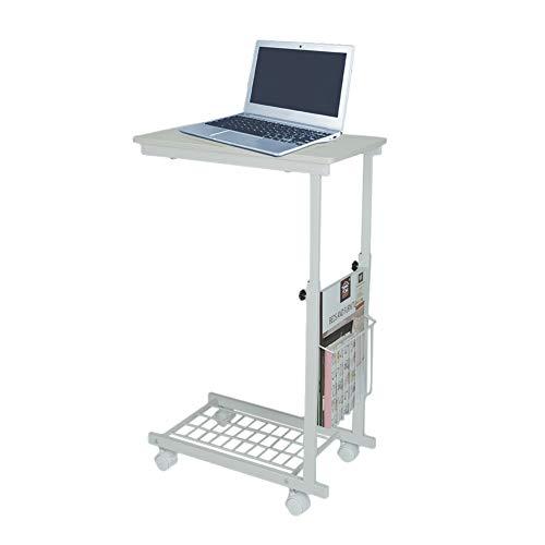 Zerone Beistelltisch mit Rollen,Laptop-Tisch Schreibtisch mit Abnehmbaren Rädern und Ablagekörben Höhenverstellbarer,für Kleine Räume Wohnzimmer Schlafzimmer