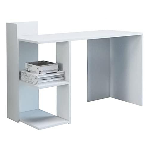 ADGO Taco Escritorio para portátil con 2 estantes, 120x51,6x87,5cm, moderno y minimalista, mesa de oficina para ordenador portátil, con espacio de almacenamiento (alfombrilla blanca)