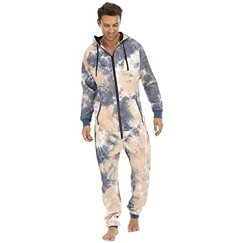 Gebatikt - Mono de dormir para hombre con cremallera y capucha, largo, para correr, hacer deporte, para el tiempo libre, para estar en casa, Blanco, L